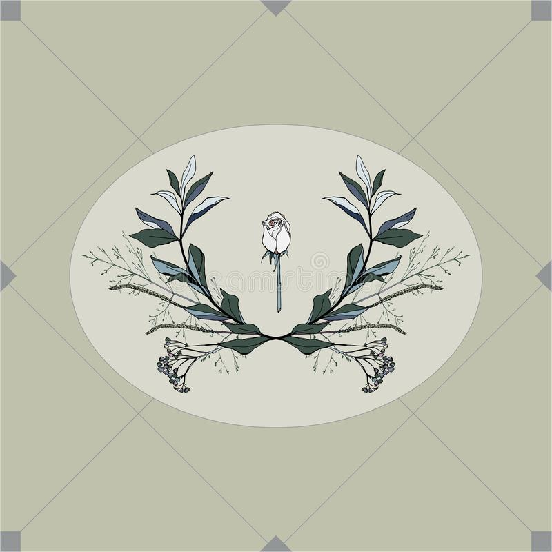 Wight rose framed by green leaves on beige background seamless vector pattern. EPS 10 vector illustration