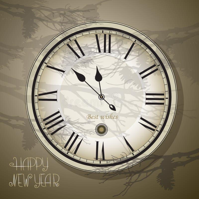 Wigilia i nowy rok przy północą Zegarowy rocznika styl, royalty ilustracja