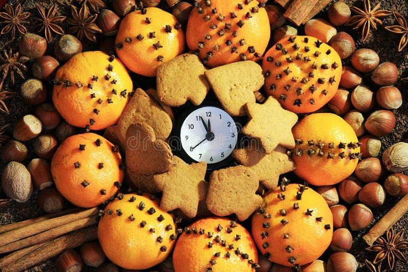 Wigilia i Nowy Rok przy północ zdjęcia stock