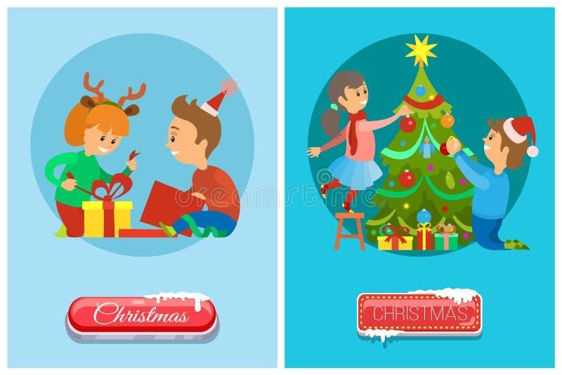 Wigilii dzieci Otwiera teraźniejszość, Xmas drzewo ilustracji