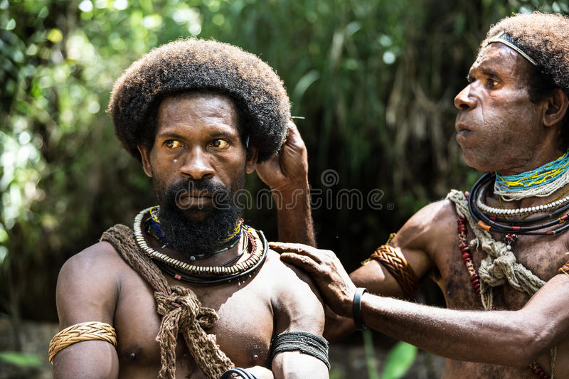 Wigmen of Papua New Guinea royalty free stock image