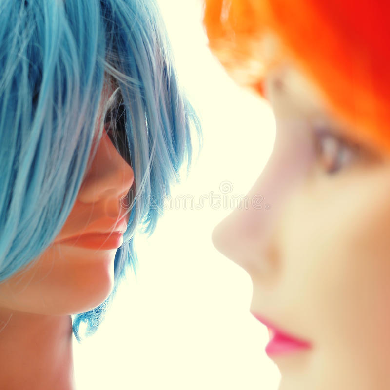 Wigs of different colors royalty free stock photography