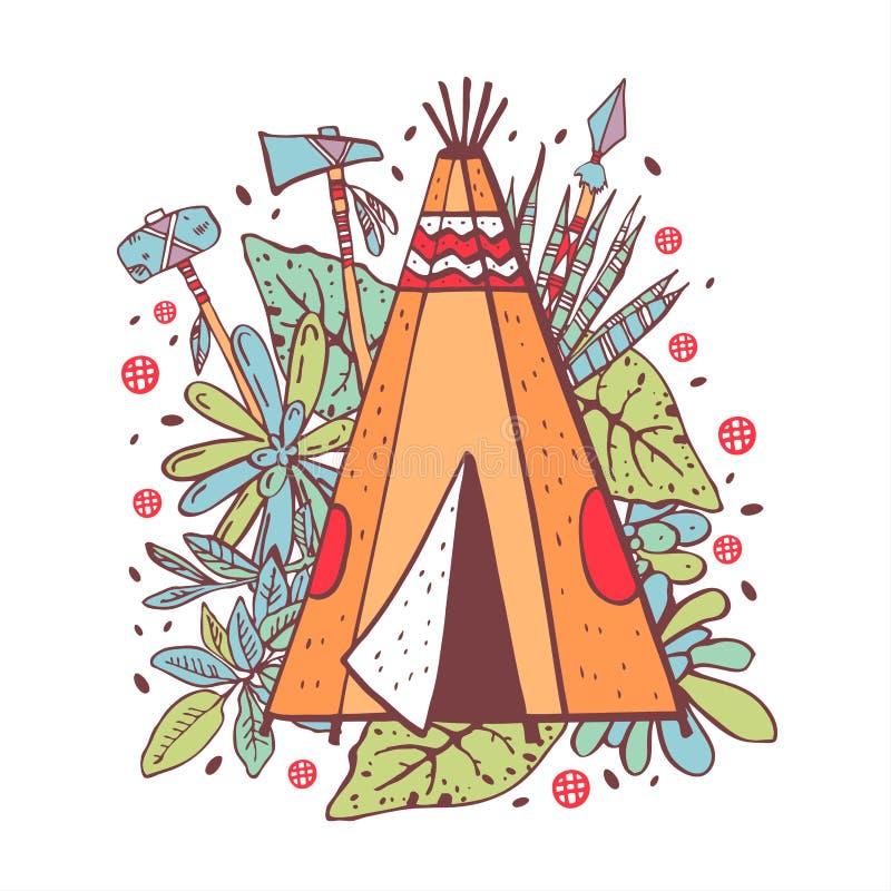 Wigwam des amerikanischen Ureinwohners mit Succulents, Blumen und Waffen auf Hintergrund Vektorhandgezogene Entwurfs-Farbillustra lizenzfreie abbildung