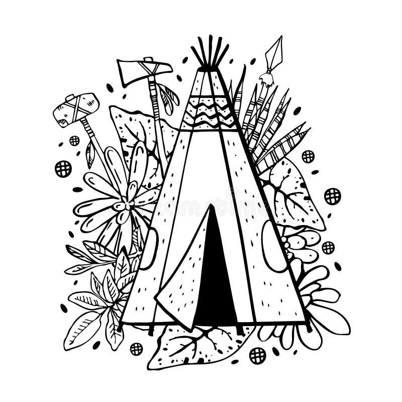 Wigwam des amerikanischen Ureinwohners mit Succulents, Blumen und Waffen auf Hintergrund Vektorhandgezogene Entwurfsgekritzel-Ski stock abbildung