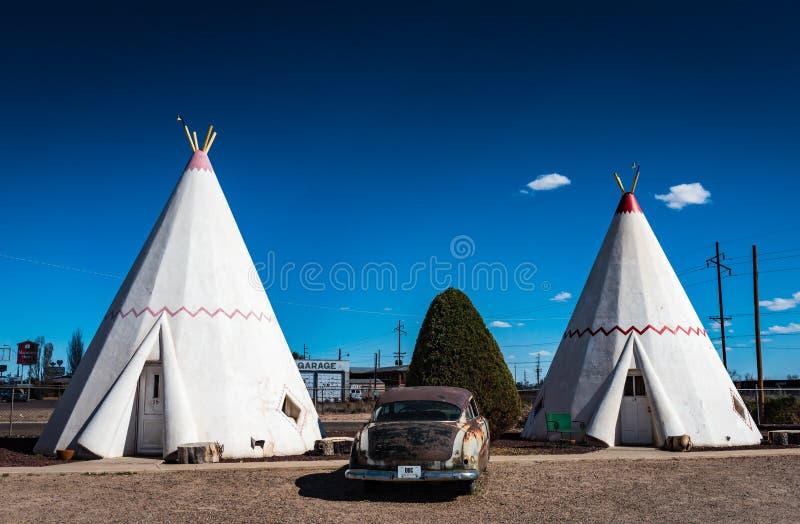 Wigwam-Dorf - Holbrook, AZ lizenzfreies stockbild