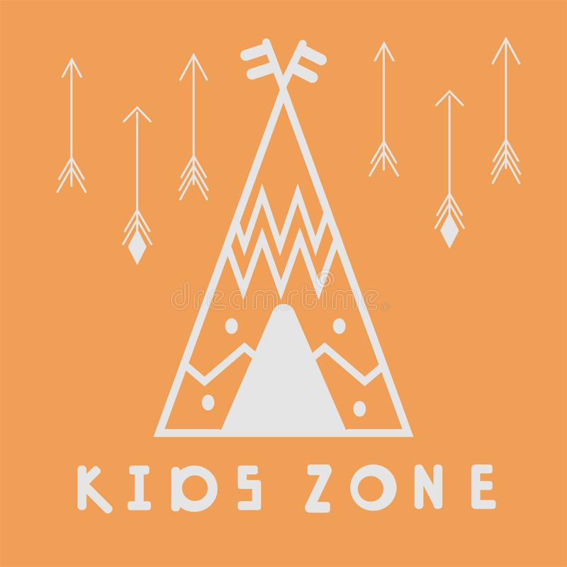 Wigwam. Kids zone poster. Teepee grey contour on orange background. print on the wall, pattern for pillow, teepee interior decorat stock illustration