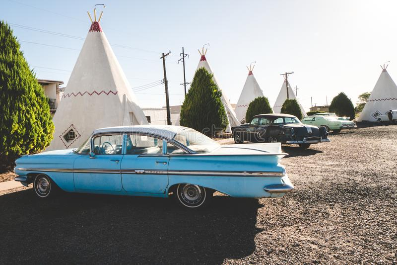 View of the Wigwam Motel and its classic cars on the property royalty free stock image