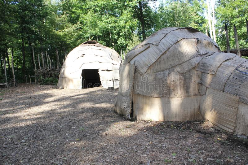 Wigwam - 16th century Eastern Woodland Indians used shelter at Meadowcroft rockshelter. Meadowcroft rockshelter is an archaeological site located west royalty free stock image