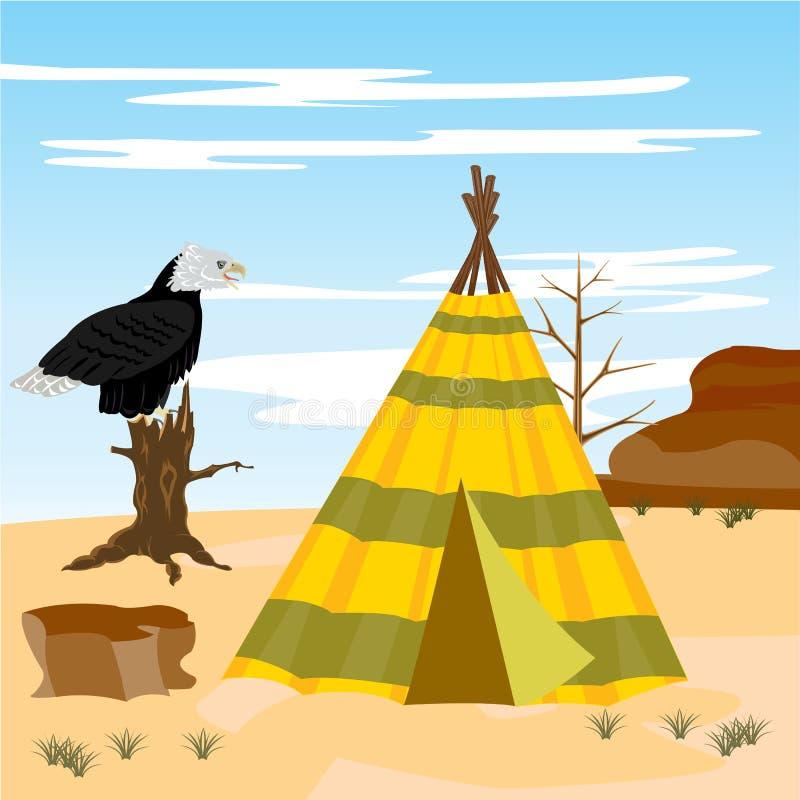 Wigwam in woestijn stock illustratie