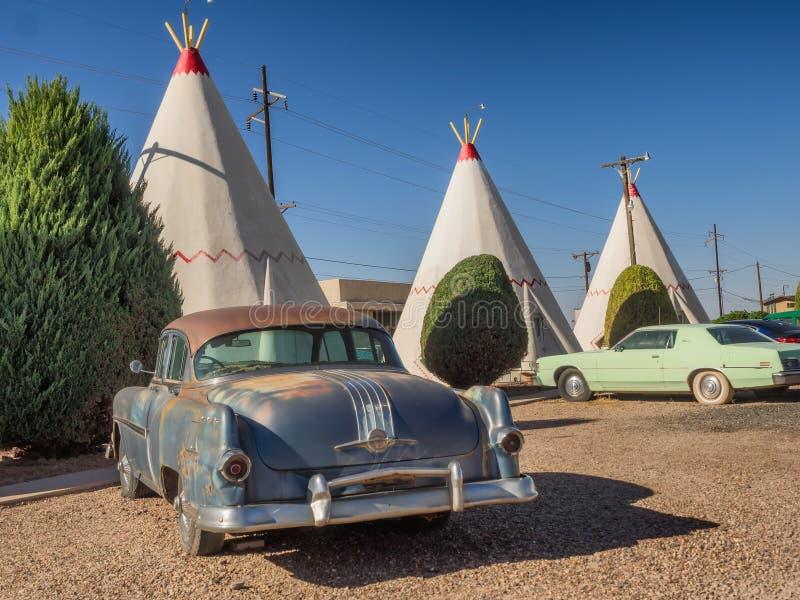 Wigwamhotel op Route 66 in Holbrook Arizona royalty-vrije stock afbeeldingen
