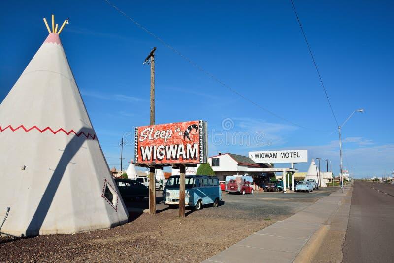 Wigwammotel op historische route 66 stock afbeelding