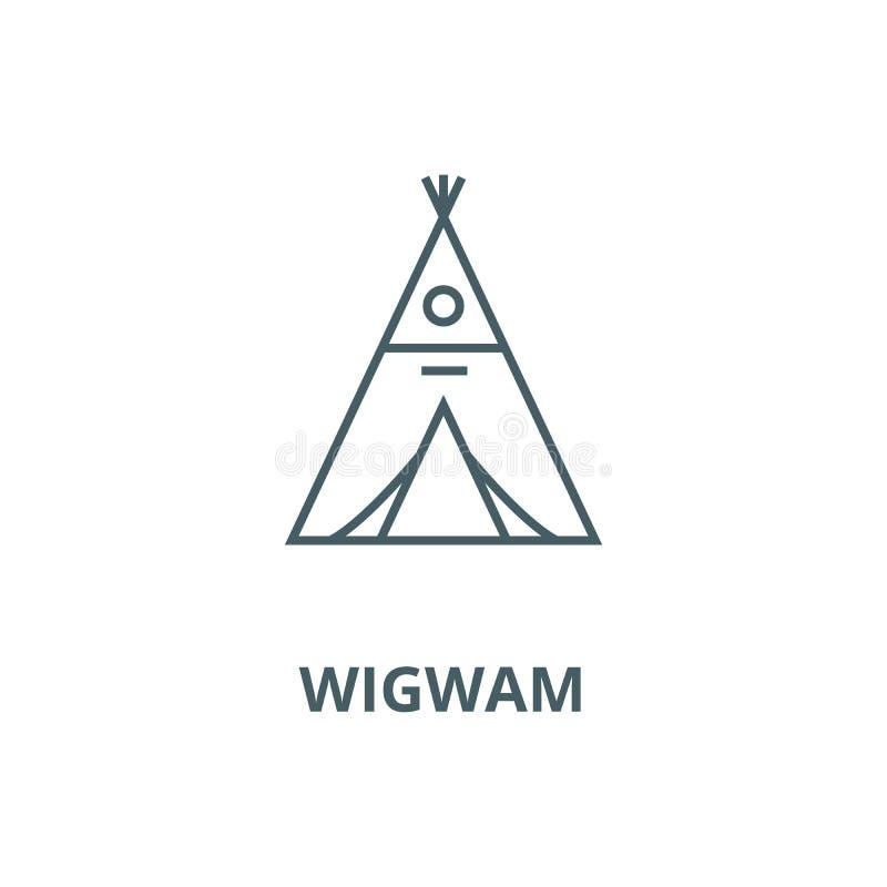 Wigwamu wektoru linii ikona, liniowy pojęcie, konturu znak, symbol ilustracja wektor