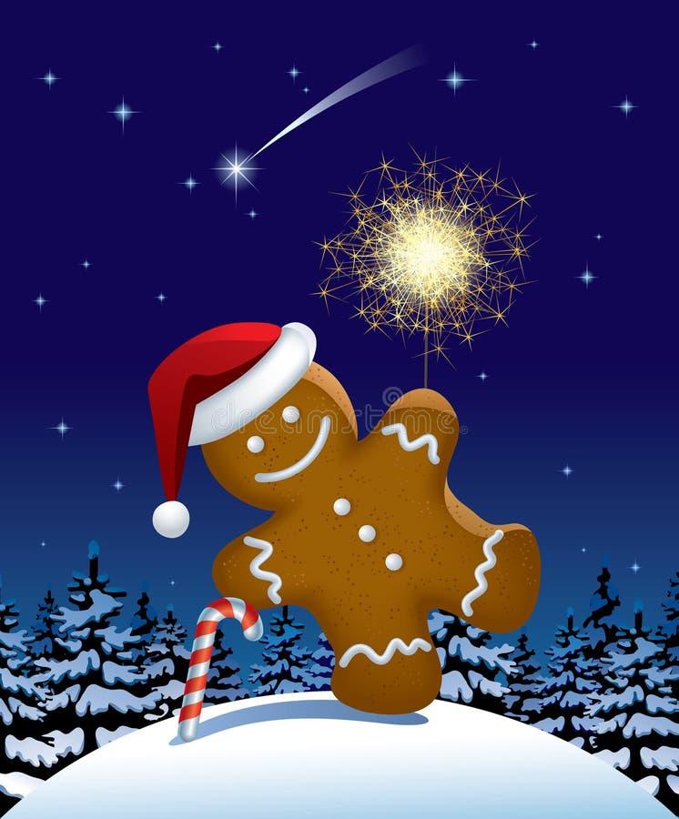 Wih del hombre de pan de jengibre un sparkler ilustración del vector