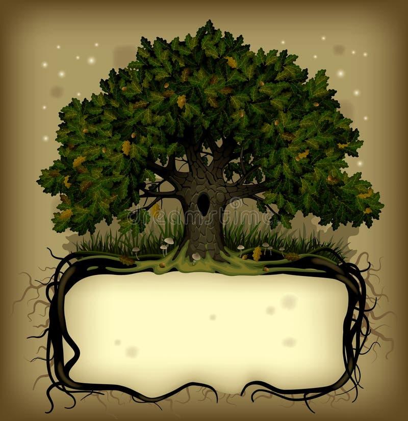 Wih dell'albero di quercia una bandiera illustrazione vettoriale
