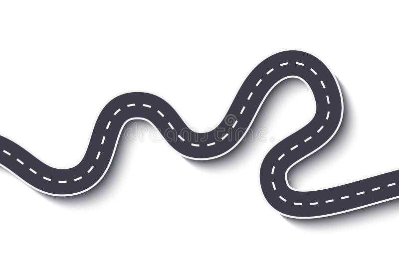 Wijąca droga na Białym Odosobnionym tle Drogowego sposobu lokaci infographic szablon 10 eps royalty ilustracja