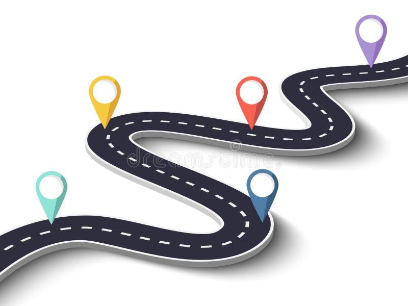 Wijąca droga na Białym Odosobnionym tle z wałkowym pointerem Wektor EPS 10 ilustracja wektor