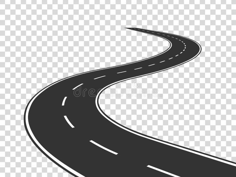 Wijąca droga Podróży ruch drogowy wyginająca się autostrada Droga horyzont w perspektywie Wijącego asfaltu pusta linia odizolowyw royalty ilustracja