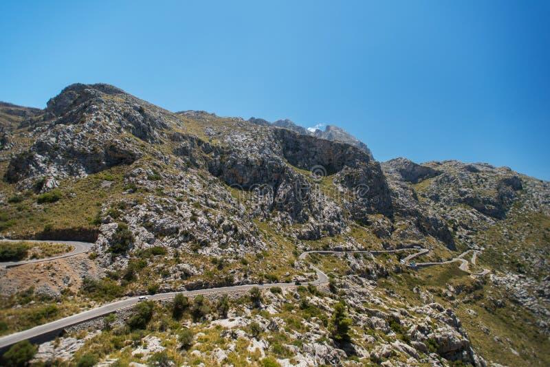 Wijąca droga w górze Mallorca fotografia royalty free