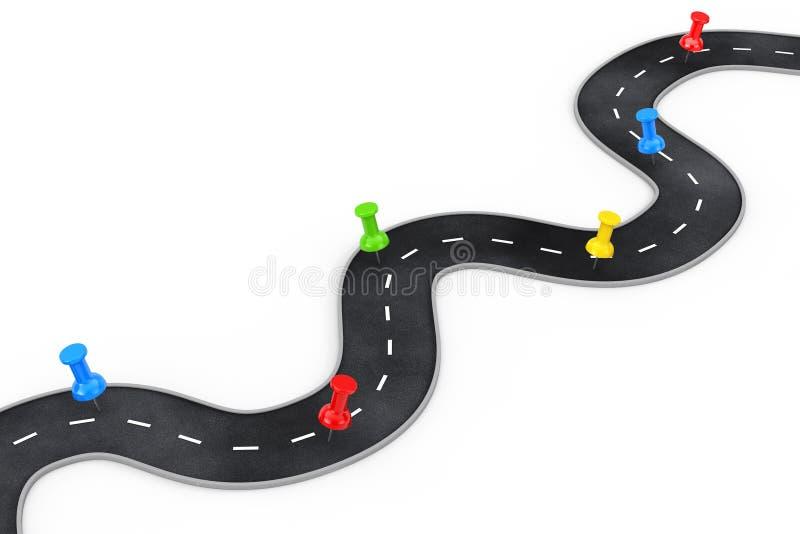 Wijąca droga z Kolorowym Wałkowym pointerem świadczenia 3 d ilustracji