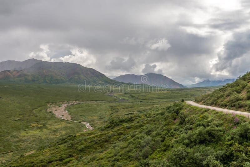 Wijące drogi i rzeki Alaska ` s Denali park narodowy fotografia royalty free