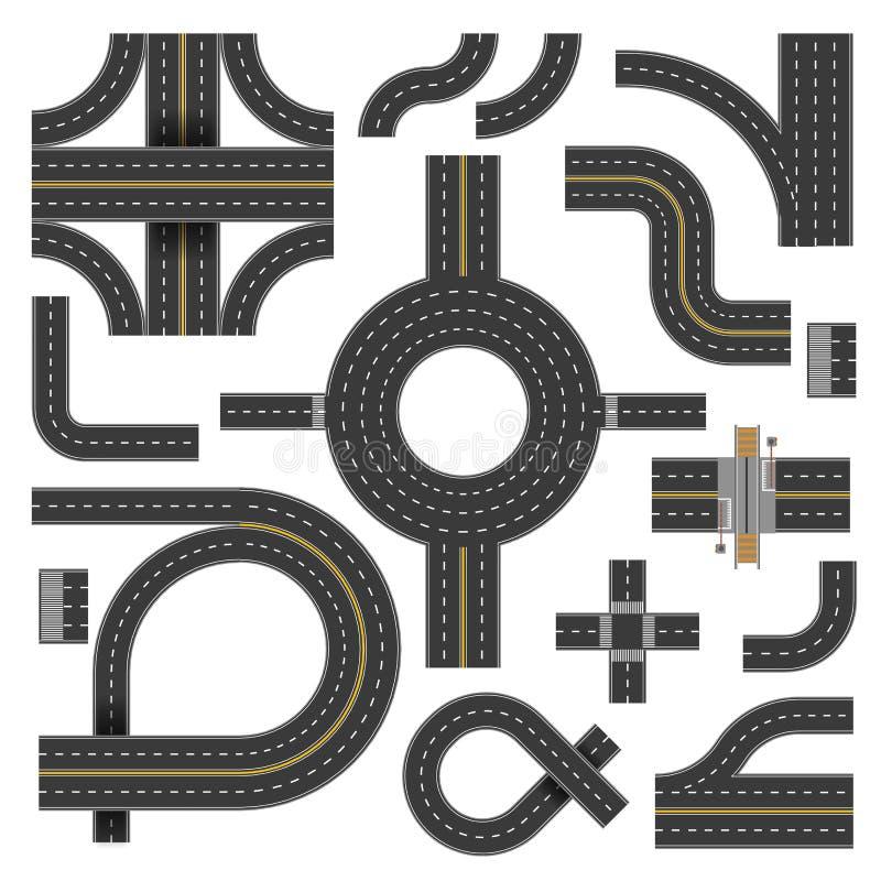 Wijącej drogi części różnorodni kształty i kierunki ilustracji