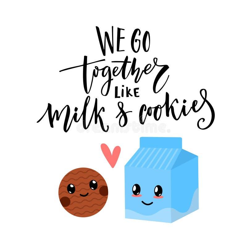 Wij gaan samen als melk en koekjes Van de de dagkaart van Valentine ` s het vectorontwerp met moderne kalligrafie en leuke karakt royalty-vrije illustratie