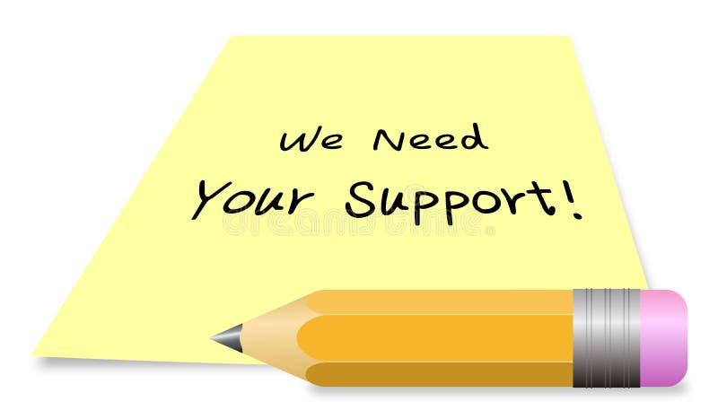 Wij hebben uw steun nodig vector illustratie