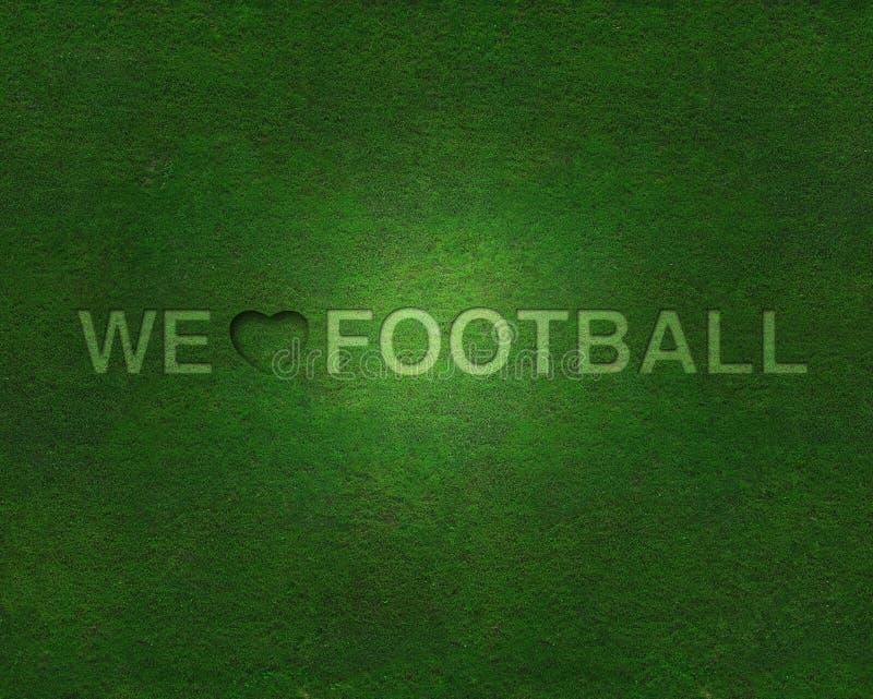 Wij houden van voetbal op gras royalty-vrije stock afbeelding