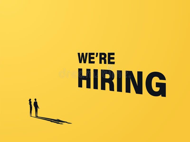 Wij huren bedrijfs vectorconcept met zakenman en vrouw en 3d teksten Symbool van rekrutering, carrièrekans vector illustratie
