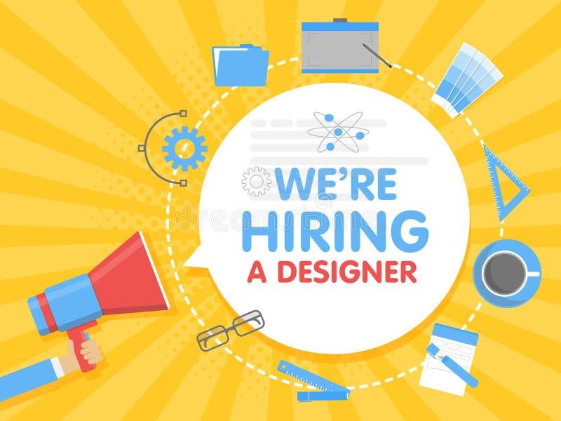 Wij huren een ontwerper in De vectorillustratie van het megafoonconcept Bannermalplaatje, advertenties, onderzoek naar werknemers stock illustratie