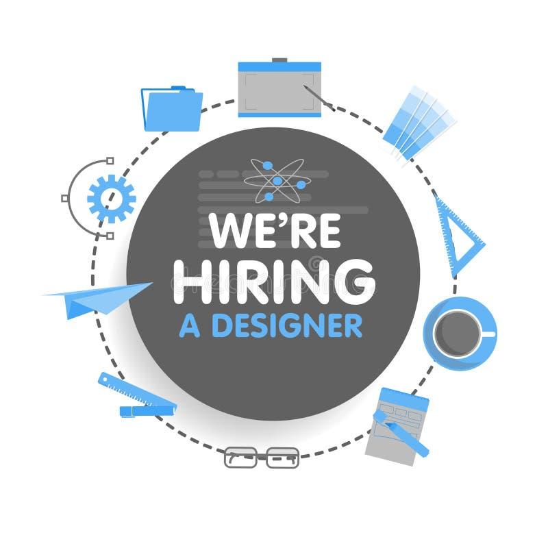 Wij huren een ontwerper in De vectorillustratie van het megafoonconcept Bannermalplaatje, advertenties, onderzoek naar werknemers royalty-vrije illustratie