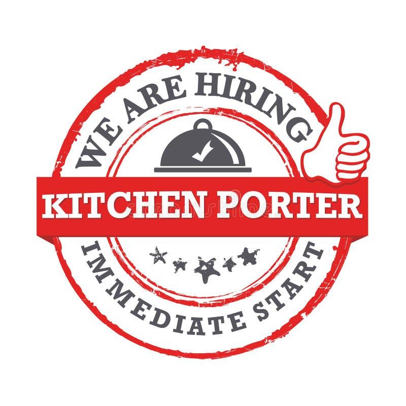 Wij huren keukenportier in Direct begin - de voor het drukken geschikte zegel van de baanaanbieding stock illustratie
