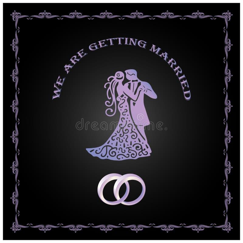 Wij krijgen gehuwde malplaatjekaart Sparen de Datum Huwelijksuitnodiging met paar Bruid en bruidegom Vector illustratie