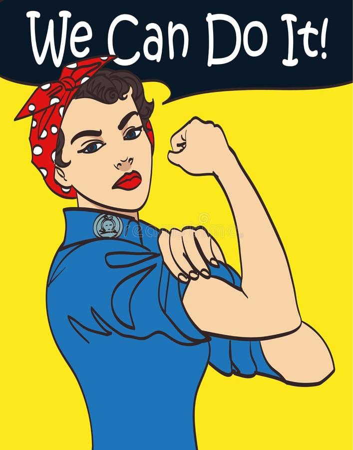 Wij kunnen het doen De vuistsymbool van de koele vector iconische vrouw van vrouwelijke macht en de industrie de beeldverhaalvrou royalty-vrije stock afbeeldingen