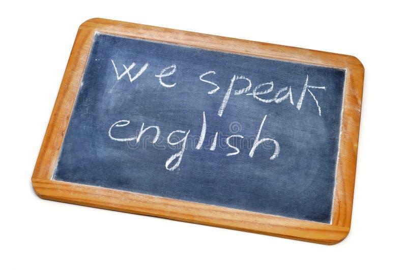 Wij spreken het Engels stock afbeeldingen