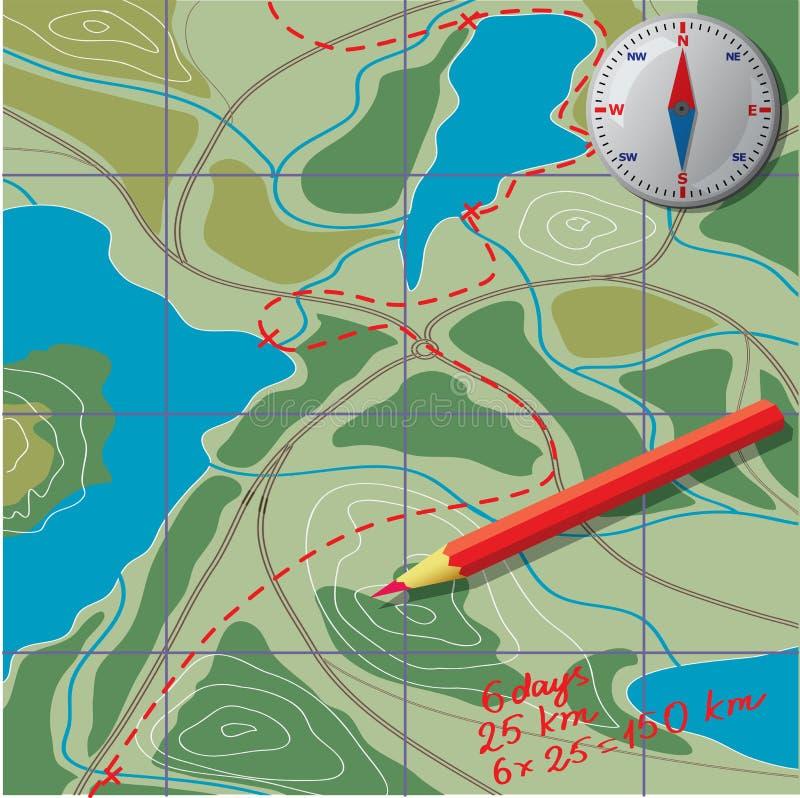 Wij trekken op de kaart, berekenen de afstand vector illustratie