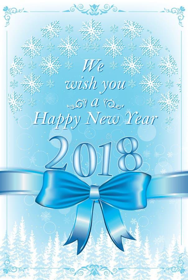 Wij wensen u een Gelukkig Nieuwjaar 2018! - collectieve groetkaart met blauwe achtergrond stock illustratie