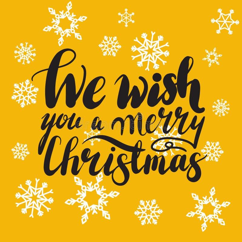 Wij wensen u een VROLIJKE KERSTMIShand het van letters voorzien douane met de hand gemaakte kalligrafie, vectoreps10 stock fotografie