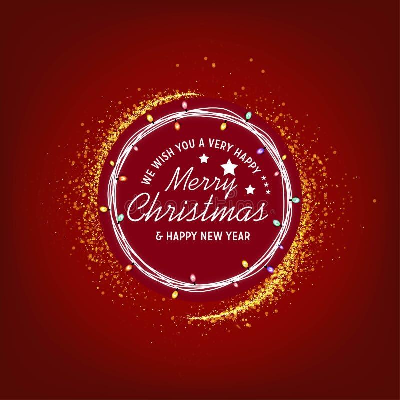 Wij wensen u zeer gelukkige Vrolijke Kerstmis en Gelukkige Nieuwe een jaarachtergrond royalty-vrije illustratie