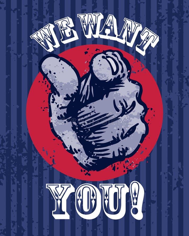 Wij willen u Affiche vector illustratie