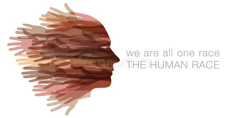 Wij zijn alle één ras Het menselijke ras stock illustratie