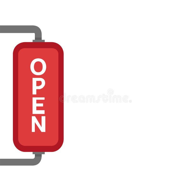 Wij zijn Open Teken - Illustratie van rood teken met bezoekers van de informatie de welkom hetende winkel stock illustratie