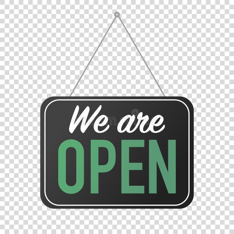 wij zijn open teken voor deur het posten stock illustratie