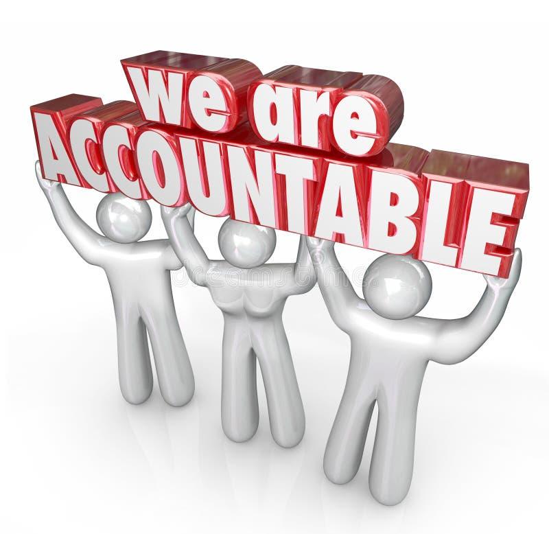 Wij zijn Verantwoordelijk Team Lifting Words Taking Responsibility royalty-vrije illustratie