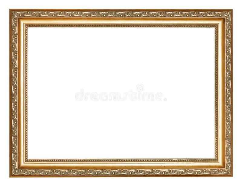 Wijd gesneden oude gouden houten omlijsting stock afbeelding