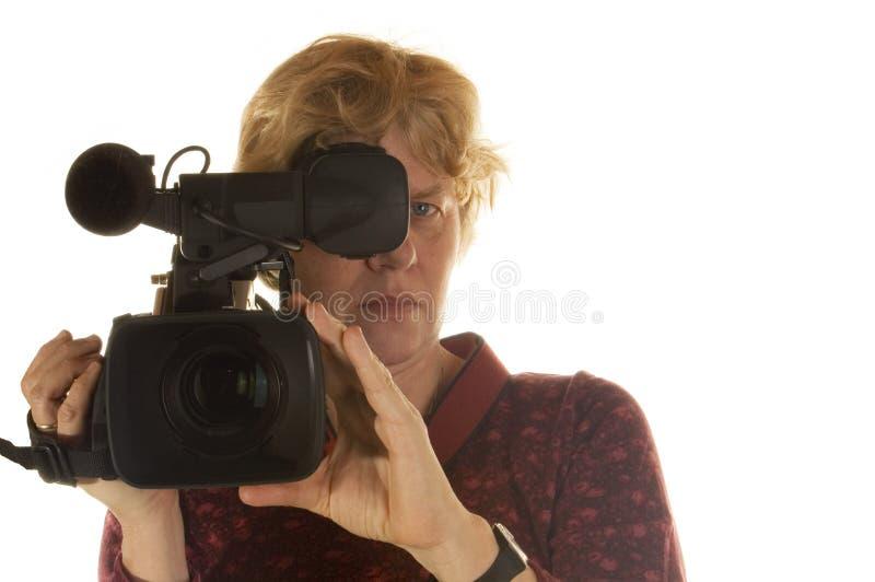 Wijfje achter de camera royalty-vrije stock foto's