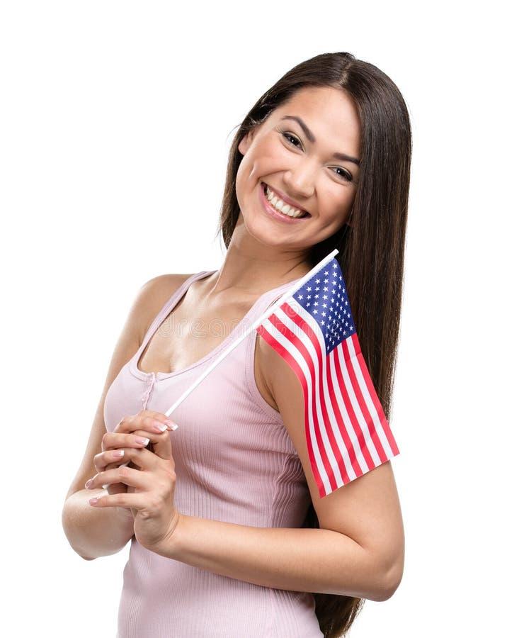Wijfje die Amerikaanse vlag overhandigen royalty-vrije stock foto