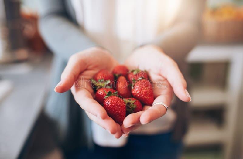 Wijfje die een handvol verse aardbeien houden royalty-vrije stock afbeeldingen