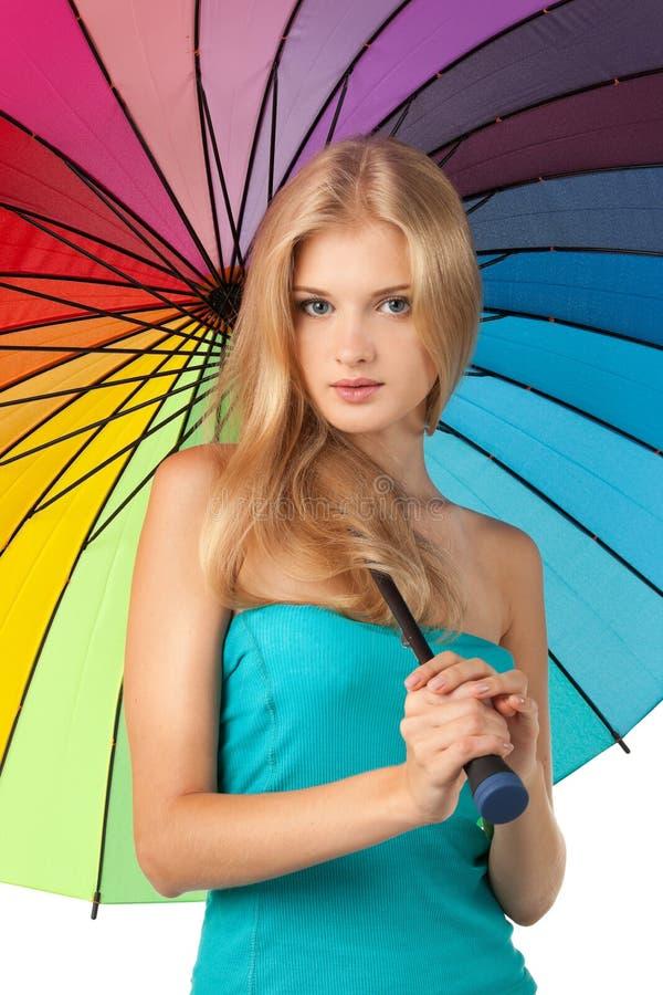 Wijfje met paraplu royalty-vrije stock afbeeldingen