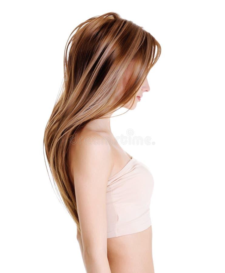Wijfje met schoonheids rechte haren stock foto